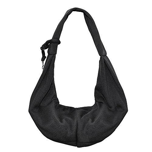 HITOP Dog Cat Pet Sling Carrier Bag, Outdoor Slings Carriers Reversible Shoulder Bag (Black)