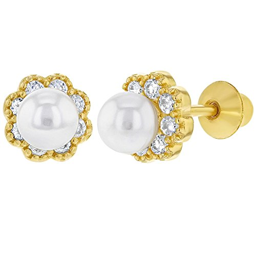 - Yellow Gold Flashed 925 Sterling Silver White CZ Simulated Pearl Flower Girls Earrings