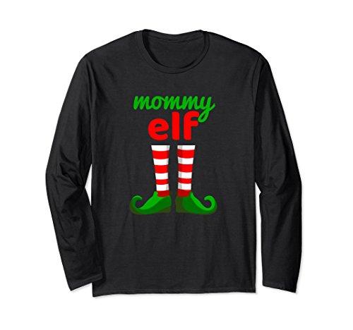 Unisex MOMMY ELF Funny Christmas T-Shirt   Santa Helper Long Sleeve Large Black from Funny Elf Family Christmas Shirts 22