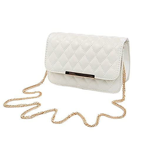 Classic Smooth Quilted Flap Clutch Handbag Crossbody Shoulder Bag, Cream