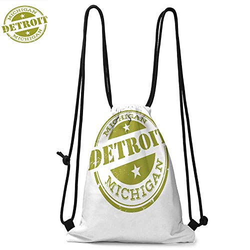 Detroit Decor Made of polyester fabric Aged Grunge Detroit Michigan Stamp Design with Stars Tourism Travel Waterproof drawstring backpack W13.4 x L8.3 Inch Olive Green White