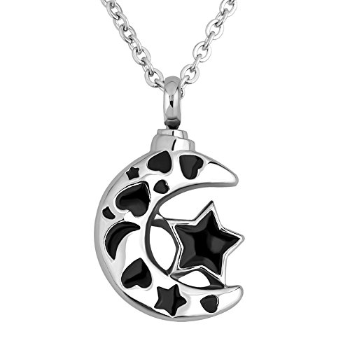 Charmed Craft Heart Moon Star Stainless Steel Urn Necklace For Ashes Cremation Keepsake Pendant 18'' ()