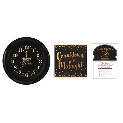 2020 New Year's Eve Countdown Party Supplies: 16 Clock Plates, 16