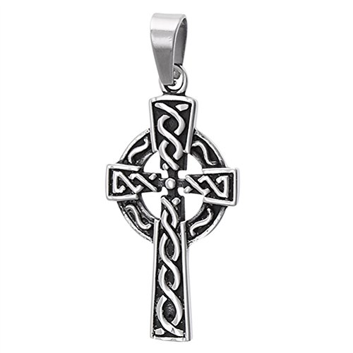 Sac Silver Oxidized Irish Knot Celtic Cross Pendant Weave Sun Vintage Charm