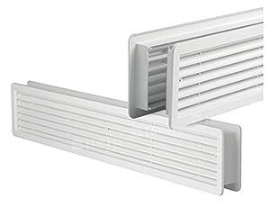 Door air vent grille double sided door opaque white 400 x 130 mm - Interior door vent grill ...