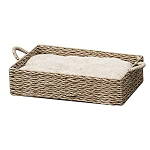 PetPals Hand Made Paper Rope Round Bed for Cat/Dog/Pet Sleep with Pillow, Natural