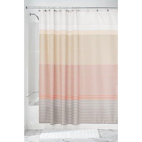 MDesign Horizon Mini Stripe Fabric Shower Curtain