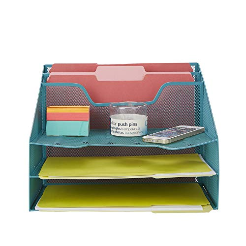 Mind Reader MESHBOX5-TUR Organizer 5 Desktop Document Letter Tray for Folders, Mail, Stationary, Desk Accessories, Turquoise ()