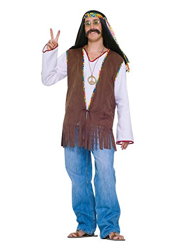 Forum Novelties Men's Generation Hippie Costume Vest, Brown, One Size -