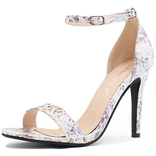 Women Ankle Inches Heel Strap Sandals 3 7 Allegra 8 Stiletto Purple K Floral wpq7CTx