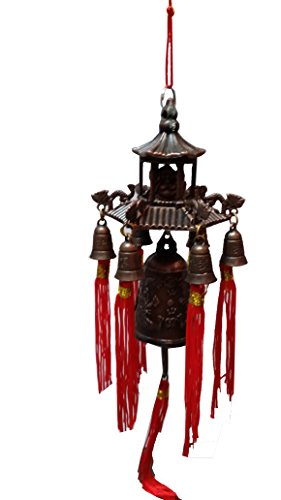 Bell Success (Striking Tibetan Lucky Buddha in pagoda Dragon Wind Bell with Coins and Mystic Knot for Luck, Strength, Abundance, Wealth, Peace and Success (Feng Shui Element, Door Chime or Decor!))
