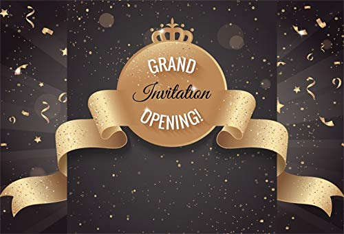 Laeacco Grand Invitation Opening Backdrop Vinyl 8x6.5ft Golden Confetti Round Banner with Crown Glitter Ribbon Background Opening Ceremony Shoot Store Anniversary Celebration Poster Wallpaper Studio