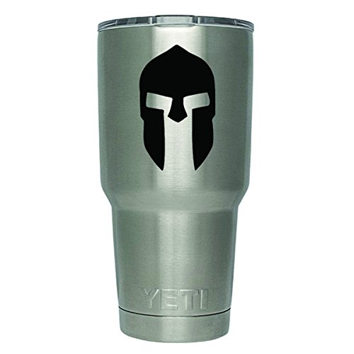 (DD346 2-Pack Spartan Helmet Of King Leonidas Decal Sticker (DECAL ONLY CUP NOT INCLUDED)   3 Inches   Premium Quality Black Vinyl   Yeti RTIC Orca Ozark Trail Tumbler)
