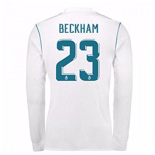 借りている効能真っ逆さま2017-18 Real Madrid Long Sleeve Home Shirt - Kids (Beckham 23)