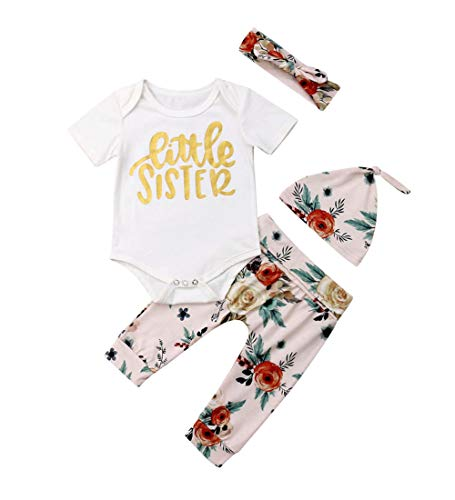 Baby Girls Little Sister Bodysuit Tops Floral Pants Bowknot Headband Outfits Set (0-6 Months, Style 11) ()