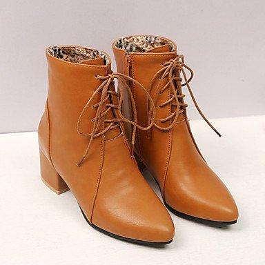 Deutsches Elektronen-Synchrotron Damen Schuhe PU Fall Winter Komfort Stiefel, Chunky Absatz Schuhe mit für Casual Schwarz Grau Gelb, schwarz