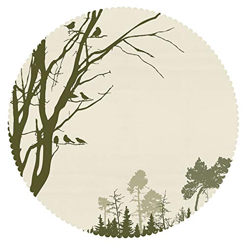 iPrint Eco-Friendly Round Tablecloth [ Forest,Nature Theme The Panorama of a Forest Pattern Birds on Tree Branches Print Decorative,Olive Green Cream ] Fabric Tablecloths ()