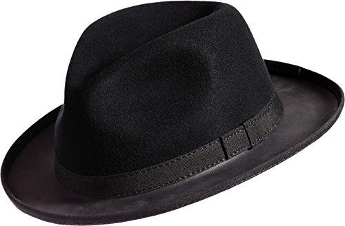 Trilby Felt and Leather Fedora Hat, BLACK, Size MEDIUM (7,7.13) by Overland Sheepskin Co