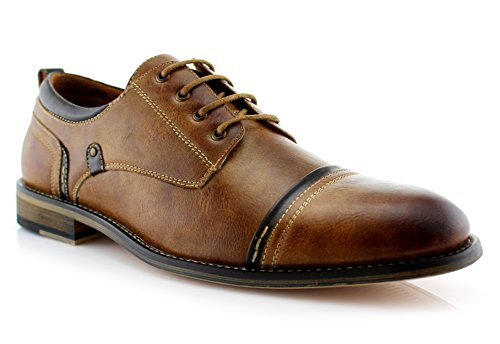 Ferro Aldo Shane MFA19606L Mens Casual Cap Toe Oxford Dressing Shoes – Brown, Size 10