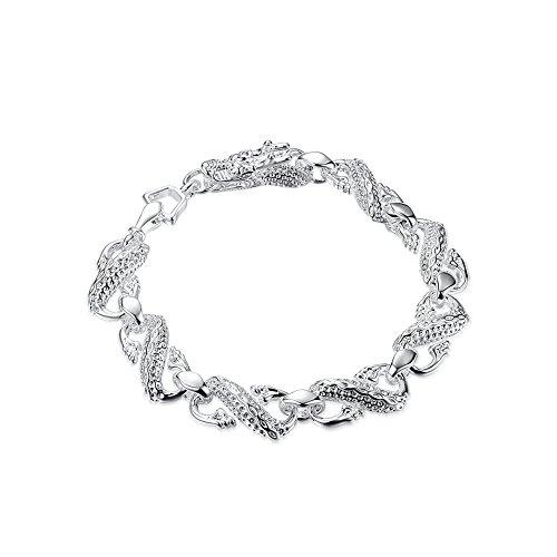 GUIJI Silver Plated Unisex Bracelet Jewelry Little White Dragon Bracelet 18.1G