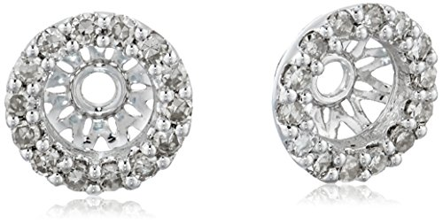 14k White Gold Diamond Classic Halo Earrings Jackets (1/7 cttw, J-K Color, I2-I3 Clarity) by Amazon Collection