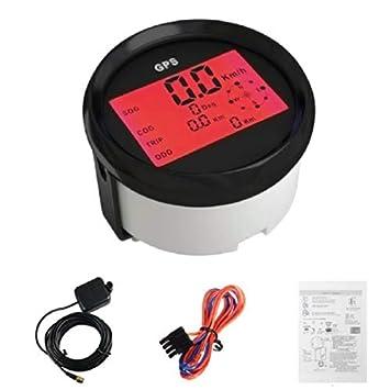 Velocímetro digital universal GPS para barco de coche con retroiluminación de 85 mm, 12 V/24 V: Amazon.es: Coche y moto