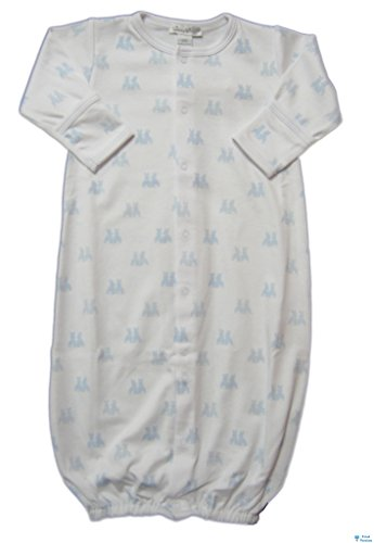 (Kissy Kissy Baby-Boys Infant Cottontail Duo Print Convertible Gown-White With Blue-Preemie)