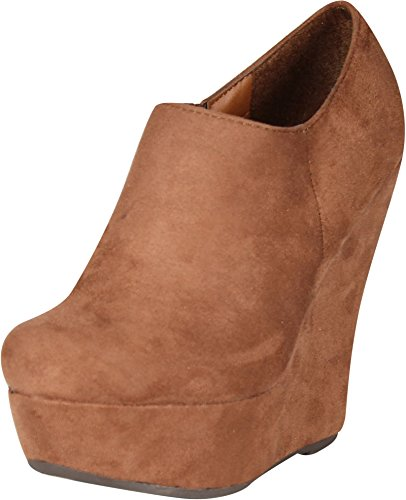 00e16d0cde3 Breckelle s Carrie-11W Women s Round Toe Platform Wedge Ankle Boots