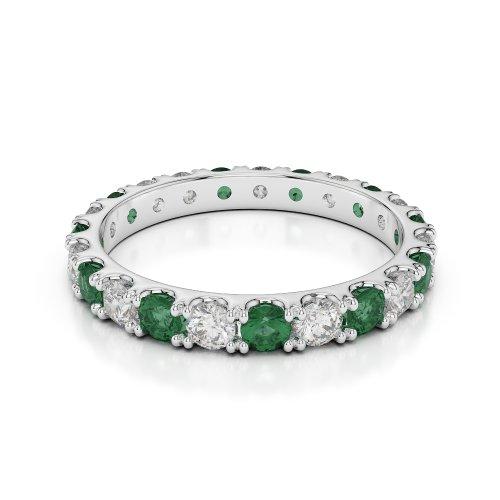 Or blanc 18carats 1CT G-H/VS sertie de diamants ronds découpé Émeraude et bague éternité Agdr-1121