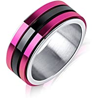 sirimongkol 8mm Purple&Black Triple Spinner Band Mens Titanium Steel Wedding Ring Size 7-11 (10)