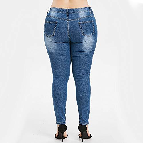 algodón del Las Pantalones Absolute Bordados Azul Pantalones Cintura de Estiramiento la de de Cintura de Tiro Alto del mezcló Mujer ❤️ Dril Moda de Largos Vaqueros la la Mujeres Hwdxpq11a
