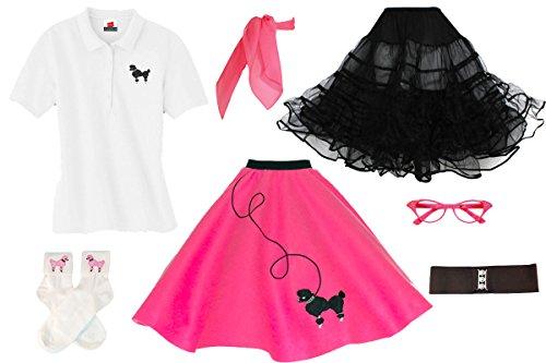 Hip Hop 50s Shop Adult 7 Piece Poodle Skirt Costume Set Hot Pink Medium -