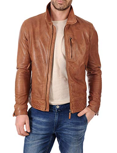 KYZER KRAFT Mens Leather Jacket Bomber Motorcycle Biker Real Lambskin Leather Jacket for ()