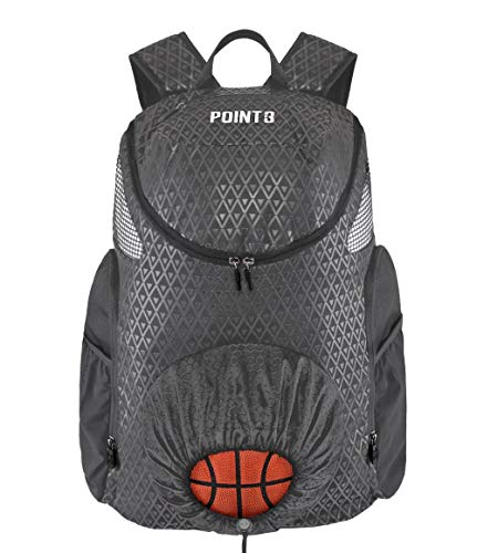 Road Trip 2.0 Basketball Backpack (Grey) Sports Athletic Bag with Built in Compartments for Basketball, Shoes, Water (Grey)