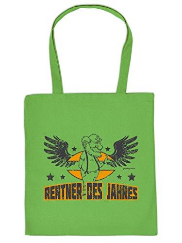 Tasche für Weihnachten. Henkeltasche mit Aufdruck: RENTNER DES JAHRES. Die Einkaufstasche als tolle Geschenkidee.