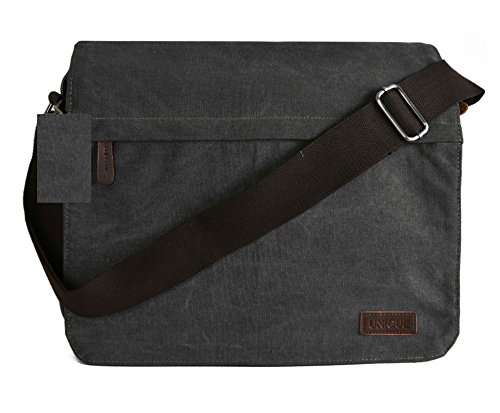 Canvas-Schultertasche Classic Messenger, Schule, Uni, Büro, Reisoder Freizeit Tasche Small Size - Style 3 - Black (#KL02)