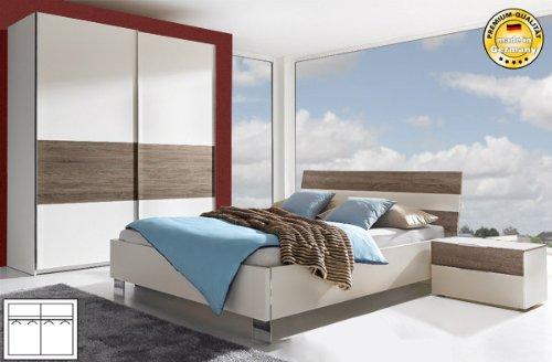 Komplett Schlafzimmer 174657-2 (621) weiß eiche dunkel (Bett ...