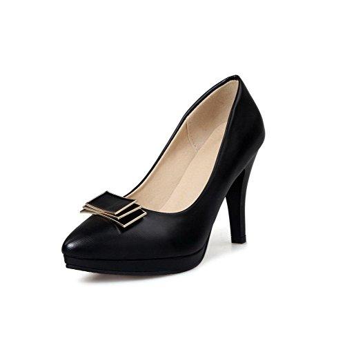 AllhqFashion Damen Ziehen auf PU Spitz Zehe Hoher Absatz Rein Pumps Schuhe Schwarz