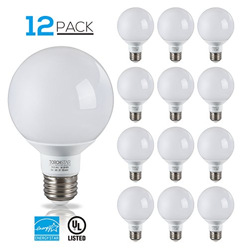 TORCHSTAR 12 Pack - UL & Energy Star Listed - 5W 40W Equiv. G25 LED Bulb, Globe Vanity Light, 2700K Soft White, Medium E26 Base, Omnidirectional Bulb for Bath, Pendant, (Led Vanity Light Replacement)