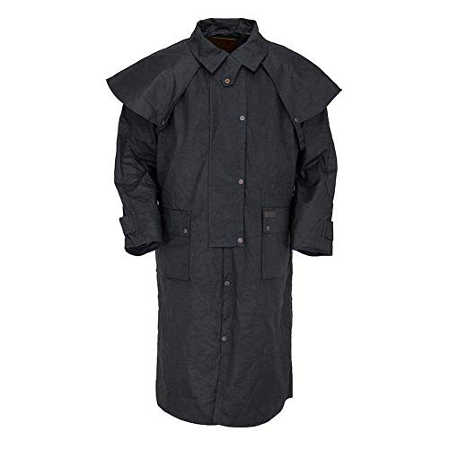 Outback Trading Waterproof Oilskin Low Rider Duster, Black, M ()