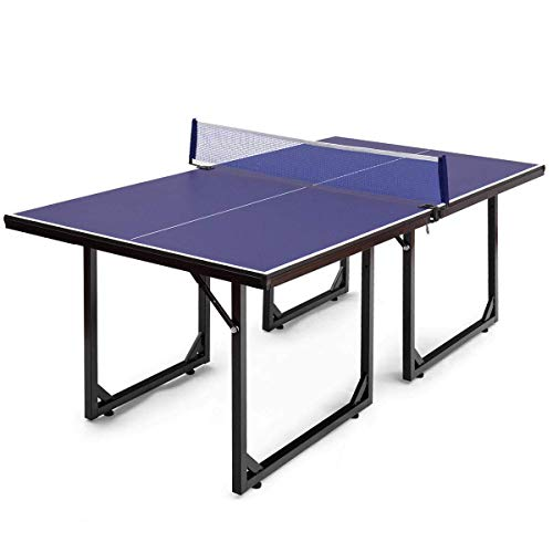 Goplus Foldable Ping Pong Table 99% Preassembled Multi-Use Midsize Compact Table Tennis...