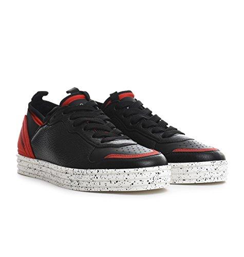 Hogan Herren HXM1410U371DX50XDL Schwarz/Rot Leder Sneakers