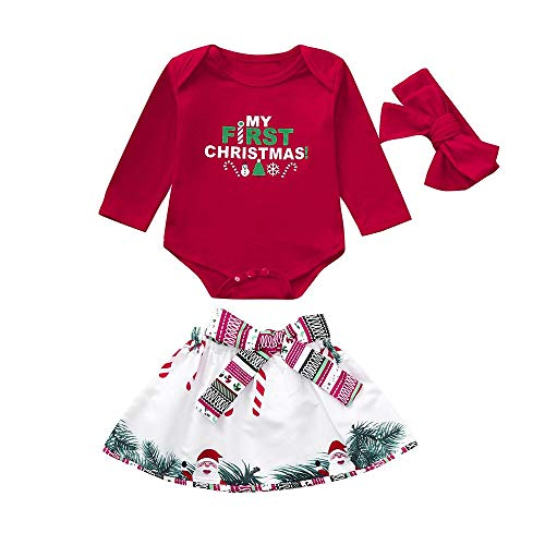 Franterd My First Christmas 3PC Baby Clothes Set Little Girl Xmas Red Romper Jumpsuit Tops + White Santa Skirt Dress +Headband