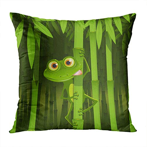- Peyqigo Throw Pillow Cover 18x18 Inch Funny Illustration Friendly Fun Frog Stem The Bamboo Jungle Trees Cute Nature Print Polyester Square Cushion Bedroom Couch Sofa Car Decorative Pillowcase
