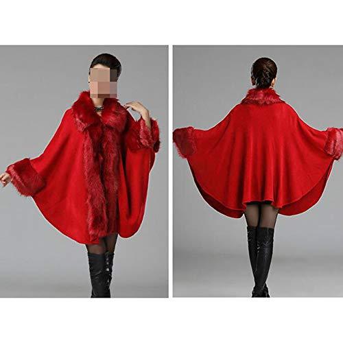 Pelliccia Donna Unica Collo Cardigan Di Sciallato Autunno Sejngf Scialle Con Da inverno Taglia Giacca Red z0txRqgw