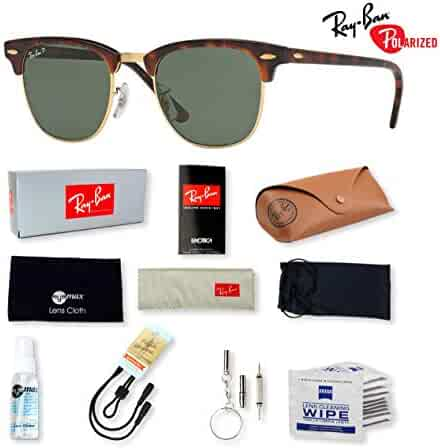 731c0752c1 Ray-Ban RB3016 Clubmaster Sunglasses with Deluxe Eyewear Accessories Bundle