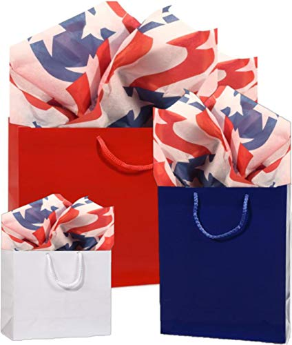 Gift Bags, Assorted Sizes, Bundled with Coordinating Tissue Paper and Raffia Ribbon (Stars and Stripes) ...
