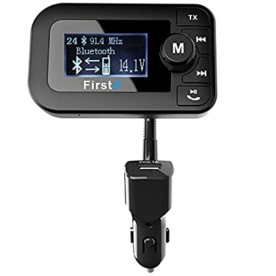 "Firste In Car Bluetooth FM Transmitter Wireless Bluetooth MP3 Player Radio Audio Adapter Car Kit with 2.0"" Display&Dual USB Car Charger Hands Free Call for iPhone&Other Smartphone"
