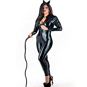 Fashion Queen Womens Sexy Leather Jumpsuit Hallowen Costume Cosplay Whip Crotch Zipper M Black