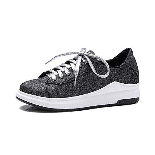 Viola Sneakers Chiusa poliuretano Tacco Da Punta Black nero Bianco Scarpe Donna estate Primavera Piatto Zhznvx Pu Comfort nw78ZzqIUx